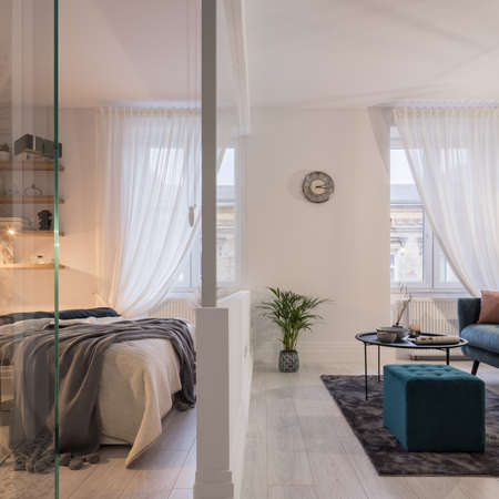 Elegant and small studio apartment with fancy bedroom and stylish living room separated by glass wall
