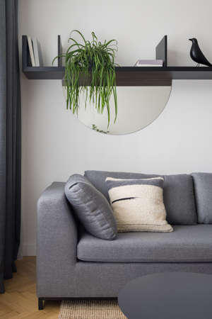 Close-up on simple gray sofa under shelf with stylish decorations in modern living room