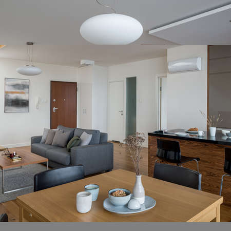 Small and stylish open plan apartment with comfortable living room, kitchen with kitchen island and dining area with wooden table Banque d'images