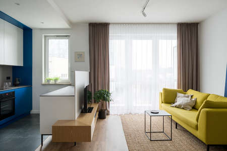 Modern designed and colorful apartment with stylish living room open to new kitchen