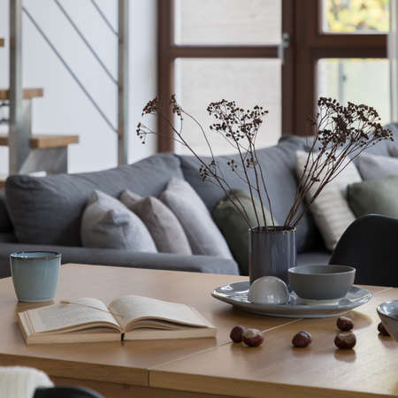 Close-up on wooden table with stylish decorations, mugs, chestnuts, vase with dried flowers, open book and cozy sofa in the background