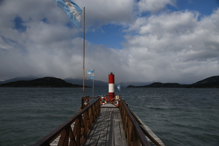 tierra: Beagle Channel Lighthouse at Tierra del Fuego Stock Photo
