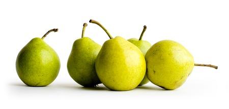 anjou: Cinco peras en el fondo blanco