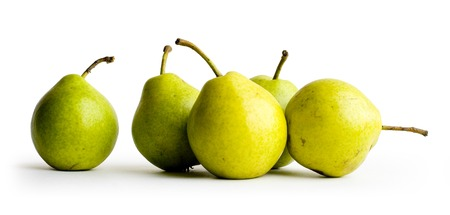 Five pears on the white background Stock Photo
