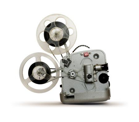 camara de cine: Proyector en el fondo blanco