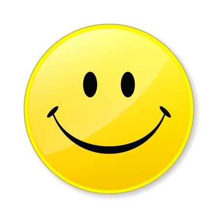 cordialit�: Happy isolare giallo sorriso sul volto sfondo bianco