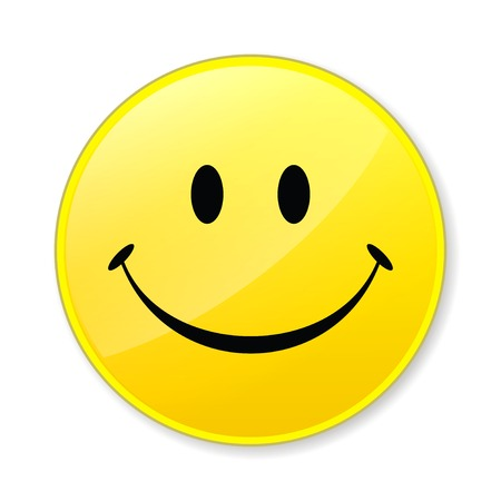 Happy isolate yellow smile face on white background photo