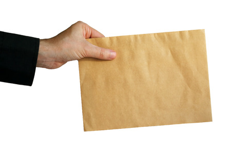 Hand with mail on white background Stock Photo