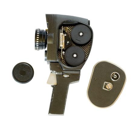 millimetre: Movie camera on white background