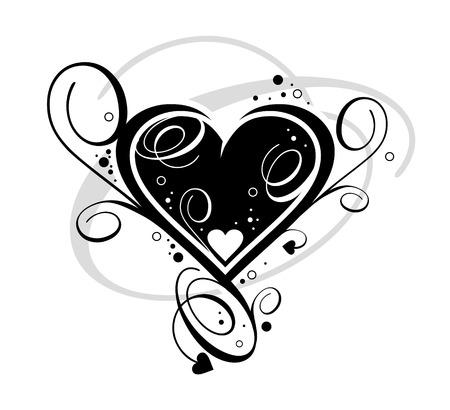 voluptuous: Black Heart on white background Stock Photo