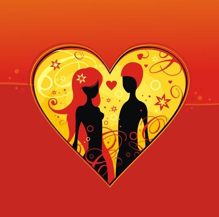 Romantic man and woman it heart photo