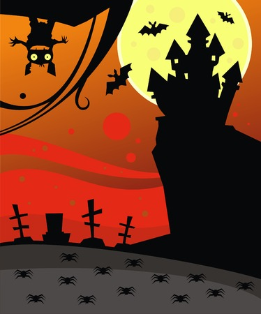 horror castle: Dark castle, bats and spiders