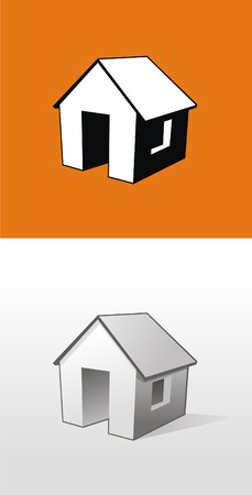 Vector home on orange and gray background Vector