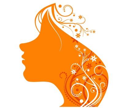 Flover orande girl on white Stock Vector - 1808314