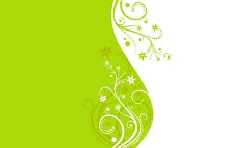 Green and white flower vector background Vector