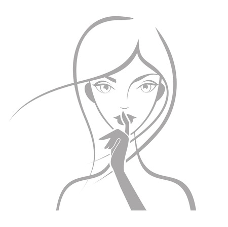 Girl face silhouette with finger on white background