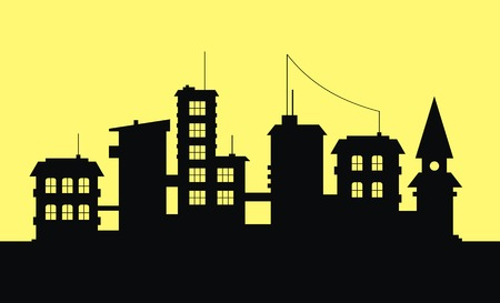 Silhouette of city on yellow background