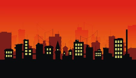 suburbs: Silhouette of night city on red background Illustration