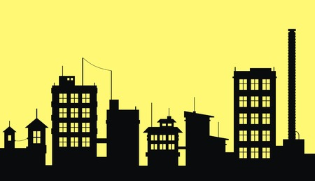 Silhouette of city on yellow background Stock Vector - 1843573