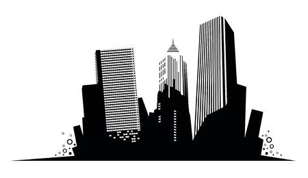 Silhouette of skyscrapers. Vector Vector