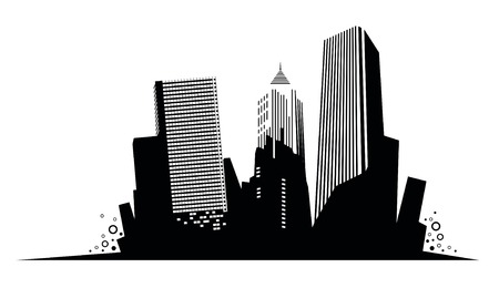 dramatic: Silhouette of skyscrapers. Vector Illustration