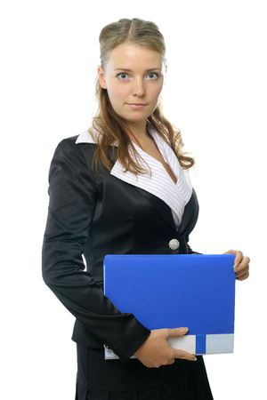 Business woman with blue folder photo