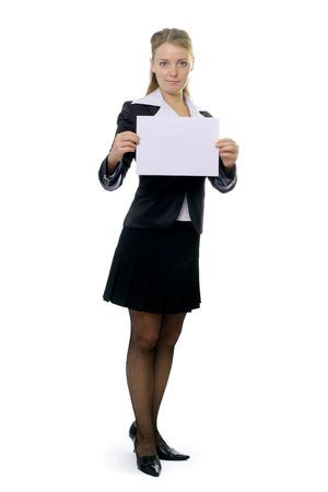 Business woman with blank sheet photo