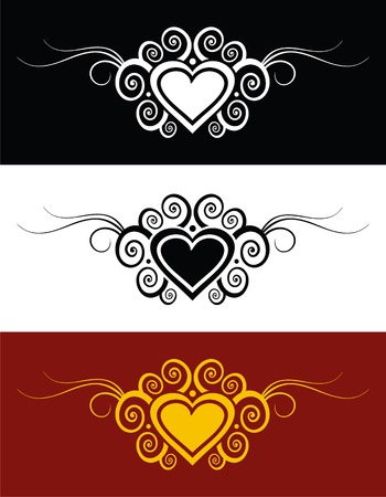 gothic heart: Vector hearts with swirl ornament