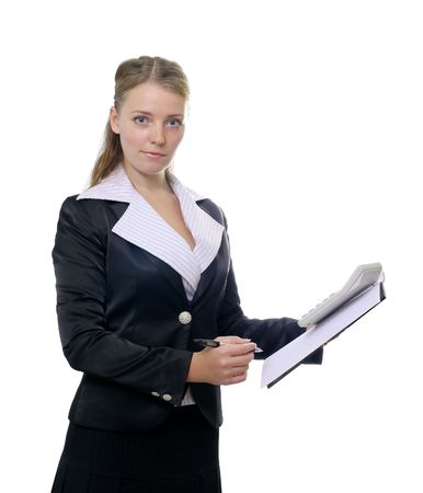 Business woman with blank sheet and pen photo