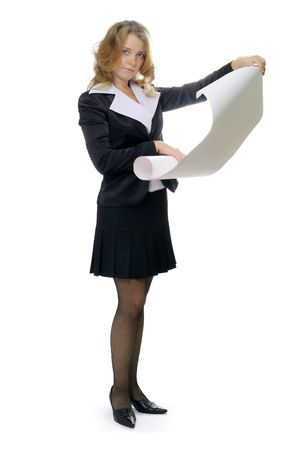 Business woman with blank sheet Stock Photo - 1896902