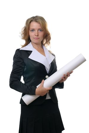 Young female engineer with tube on white background photo