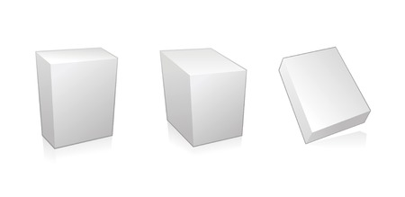 noname: Blank 3d boxes on white background, vector