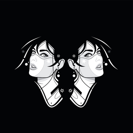 Two girl face on the black background Vector