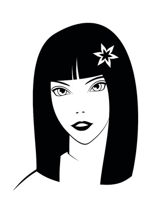 Beautiful girl with flower on white background. Vector. Vector