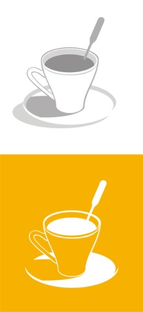 Cup of coffee on orange and white background. Vector. Vector