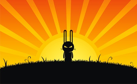 Silhouette of rabbit and grass on sunrise background Stock Vector - 2080712