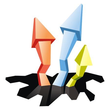 uptrend: Three arrow in white background Illustration