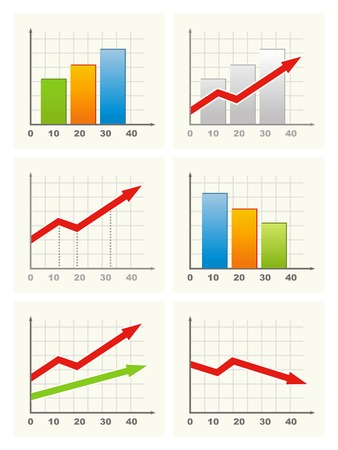 Six different business graph. Vector. Illustration