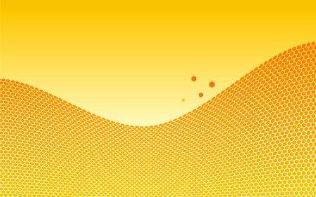 Orange honeycombs wave. Vector illustration. Vector