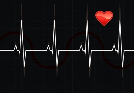 taking pulse: Lifeline in an electrocardiogram. Vector