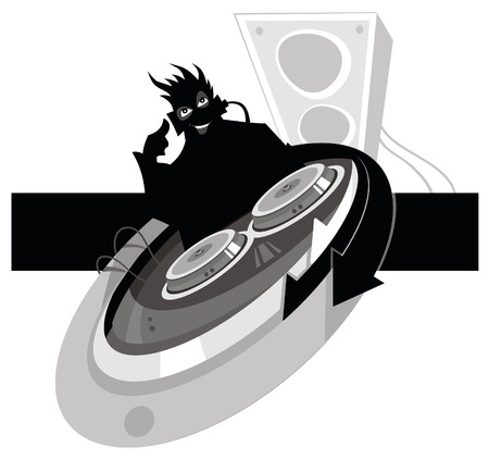 disk jockey: Black crazy DJ with equipment. Vector.