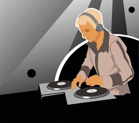 DJ with sound equipment. Vector. Vector