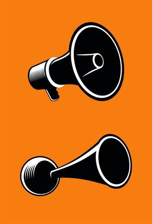 held: Icons of megaphone on orange background. Vector.