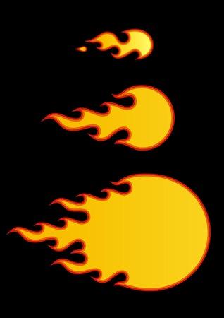 palla di fuoco: Vector bolide su sfondo nero.