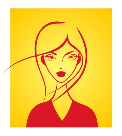 Girl face silhouette on orange background Stock Vector - 2226529