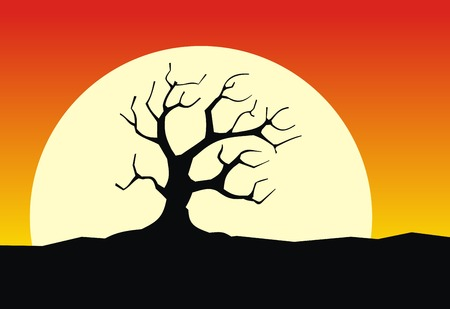 Silhouette old tree with moon. Vector. Vector