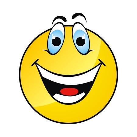 welcome smile: Feliz aislar cara amarilla sonrisa en fondo blanco.  Vectores