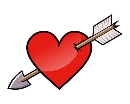 love at first sight: Red heart with arrow. Illustration