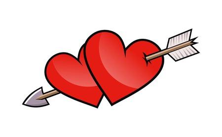 durchbohrt: Zwei rote Herz mit Pfeil.  Illustration