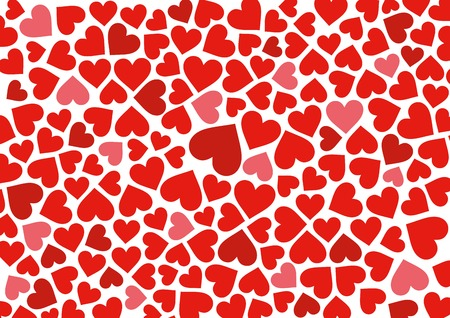 Red hearts background on white. Vector